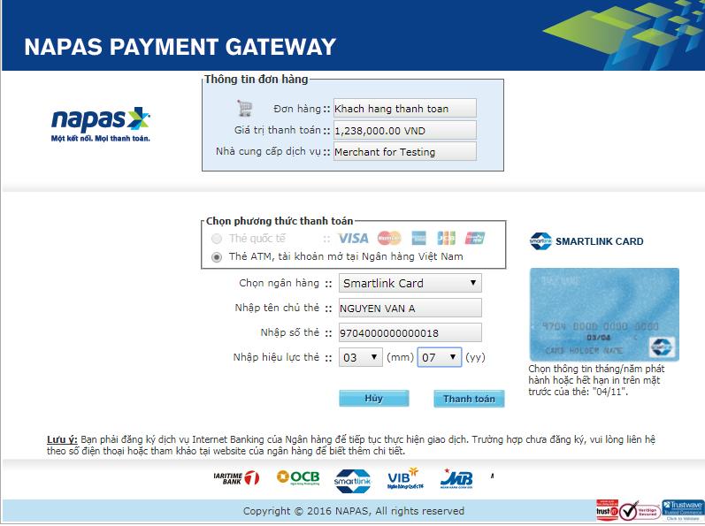 Hướng dẫn thanh toán qua thẻ Napas