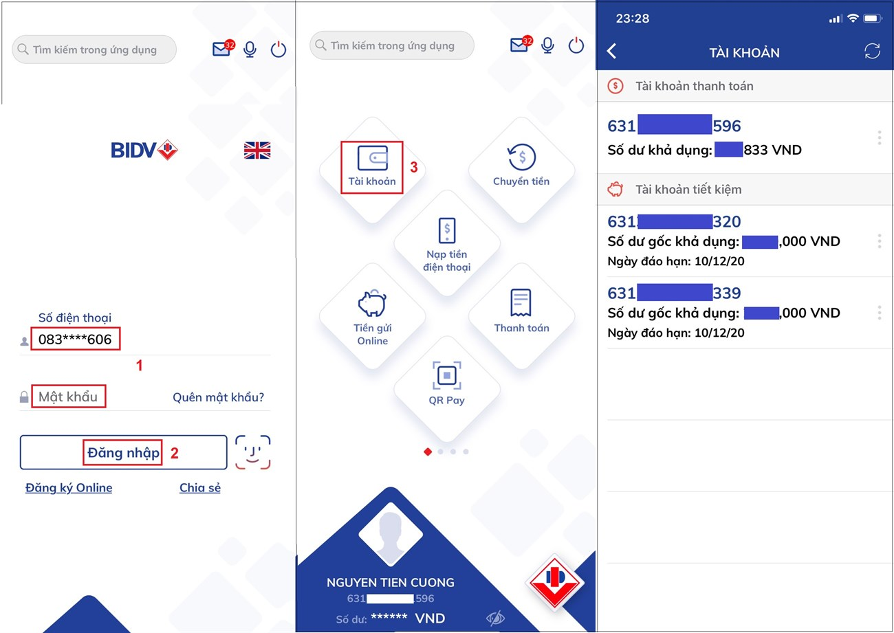 Kiểm tra số dư BIDV qua BIDV Smart Banking
