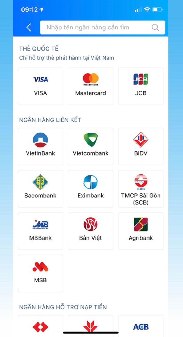 Chọn ngân hàng mà bạn muốn liên kết