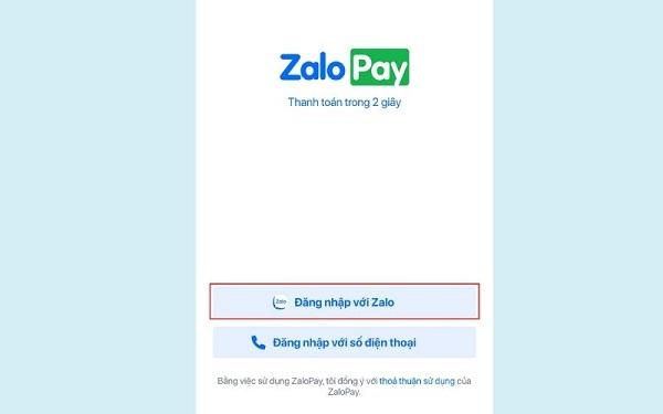 """Mở ứng dụng và chọn """"đăng nhập với Zalo"""""""
